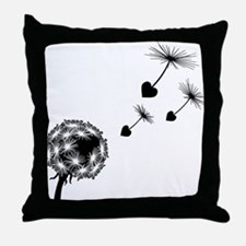 Dandelion Heart Seeds Throw Pillow
