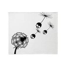 Skull Dandelion Seeds Throw Blanket