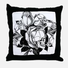 Skull Roses Throw Pillow