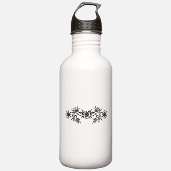 Black And White Flowers Motif Water Bottle