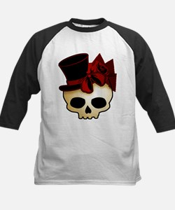 Cute Gothic Skull In Top Hat Tee