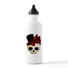 Cute Gothic Skull In Top Hat Water Bottle
