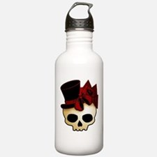 Cute Gothic Skull In Top Hat Water Bottle