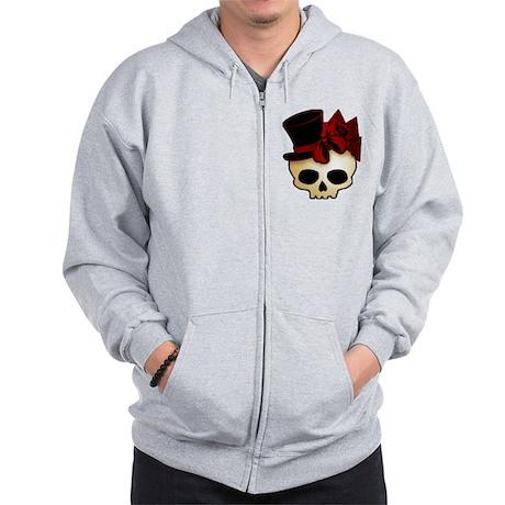 Cute Gothic Skull In Top Hat Zip Hoodie
