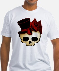 Cute Gothic Skull In Top Hat Shirt