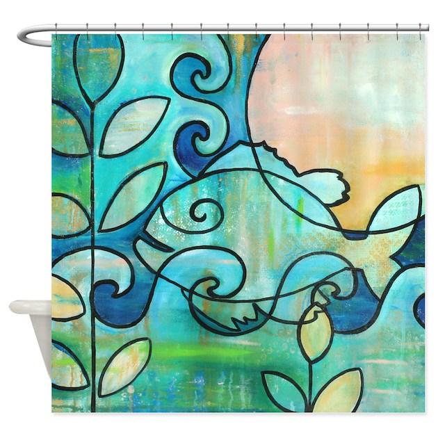 Sun Fish Beach Water Blue Green Shower Curtain By Deltamisc