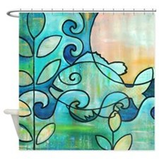 Sun Fish Beach Water Blue Green Shower Curtain