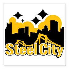 "Steel City Square Car Magnet 3"" x 3"""