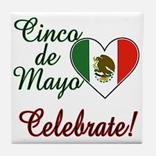 Mexican Flag Heart Tile Coaster