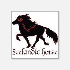 "Square Sticker 3"" x 3"" Black Icelandic h"