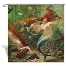 Vintage Mermaid Treasure Chest Shower Curtain