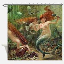 Vintage Mermaid Treasure Chest Shower Curtain