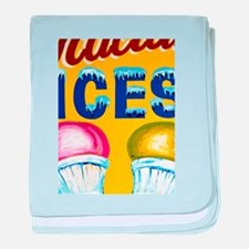 Old Signs: Ices! baby blanket