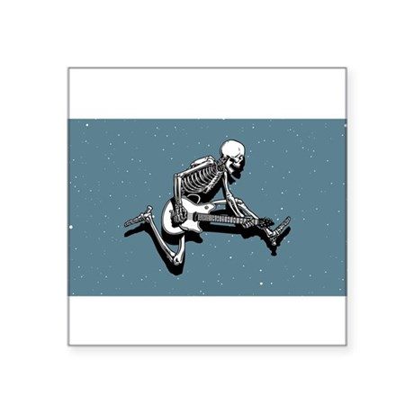 Skeleton Guitarist Jump Rectangle Sticker