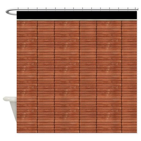 rust brown wooden slat blinds shower curtain by