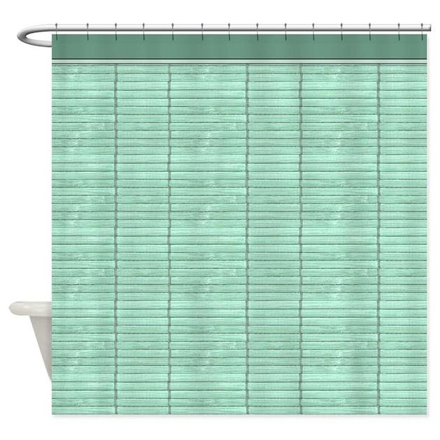 Light Green Wooden Slat Blinds Shower Curtain By Digitalrealityart
