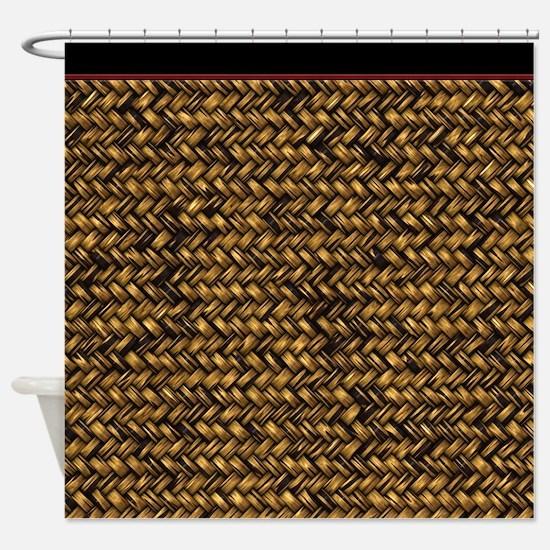 Basketweave Texture Diagonal Weave Shower Curtain