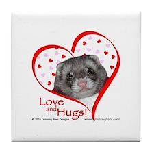 Ferret Love & Hugs Tile Coaster