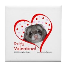 Ferret Valentine Tile Coaster
