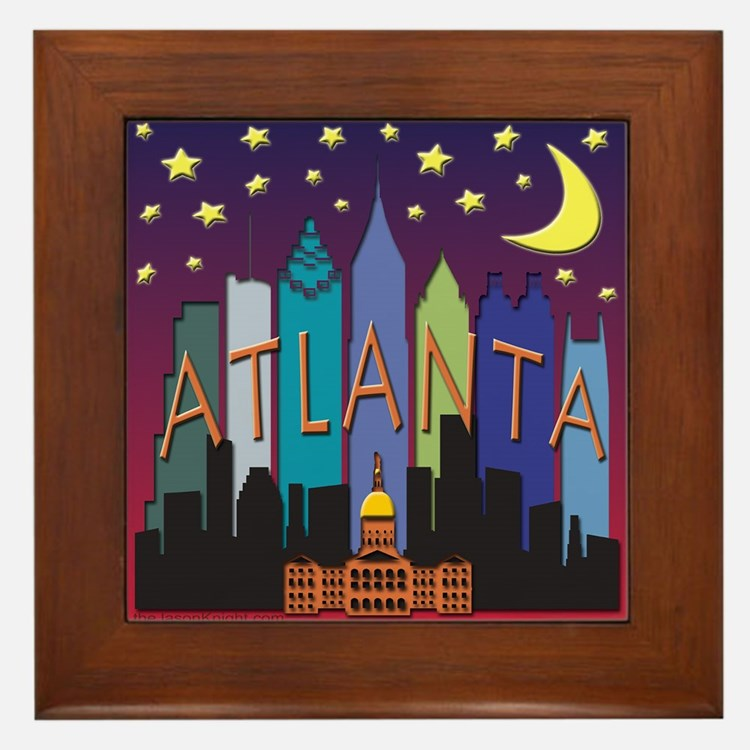 Atlanta Skyline mega color Framed Tile