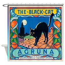 Vintage Black Cat Shower Curtain
