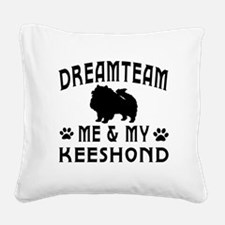 Keeshond Dog Designs Square Canvas Pillow