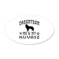 Kuvasz Dog Designs Oval Car Magnet
