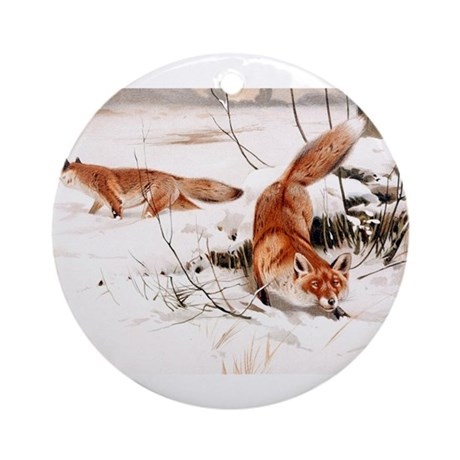 Red Fox in the Snow Ornament (Round)
