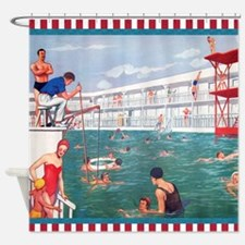 Retro Swimming Pool Shower Curtain