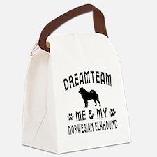 Norwegian Elkhound Dog Designs Canvas Lunch Bag