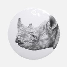 Black Rhino Round Ornament