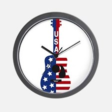 USA Guitar Wall Clock