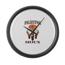 FIGHTING SIOUX Large Wall Clock
