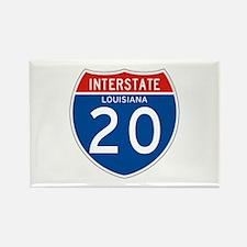 Interstate 20 - LA Rectangle Magnet