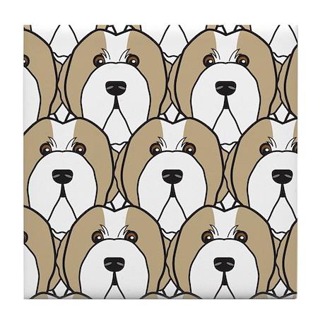 Fawn Bearded Collies Tile Coaster