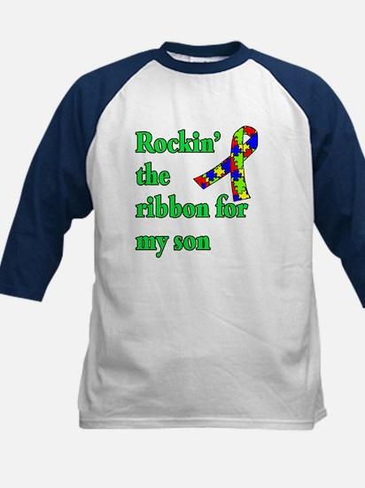 Autism Ribbon for Son Kids Baseball Jersey