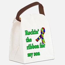 Autism Ribbon for Son Canvas Lunch Bag