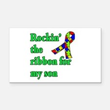 Autism Ribbon for Son Rectangle Car Magnet