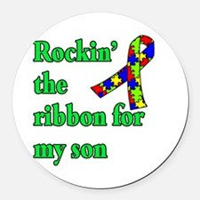 Autism Ribbon for Son Round Car Magnet