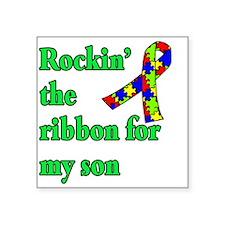 "Autism Ribbon for Son Square Sticker 3"" x 3"""