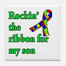 Autism Ribbon for Son Tile Coaster