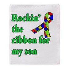 Autism Ribbon for Son Throw Blanket