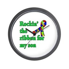 Autism Ribbon for Son Wall Clock