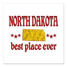"North Dakota Best Square Car Magnet 3"" x 3"""