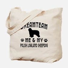 Polish Lowland Sheepdog Dog Designs Tote Bag