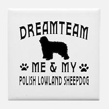 Polish Lowland Sheepdog Dog Designs Tile Coaster