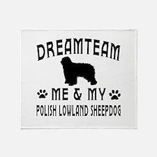 Polish Lowland Sheepdog Dog Designs Throw Blanket