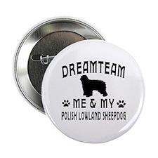 "Polish Lowland Sheepdog Dog Designs 2.25"" Button"