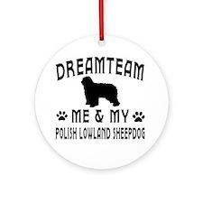 Polish Lowland Sheepdog Dog Designs Ornament (Roun