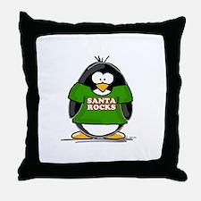 Santa Rocks Penguin Throw Pillow